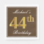 [ Thumbnail: Elegant Brown, Faux Gold 44th Birthday + Name Napkin ]