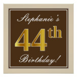 [ Thumbnail: Elegant, Brown, Faux Gold 44th Birthday + Name Poster ]