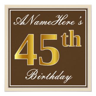 Elegant, Brown, Faux Gold 45th Birthday + Name Card