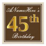 [ Thumbnail: Elegant, Brown, Faux Gold 45th Birthday + Name Invitation ]