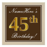 [ Thumbnail: Elegant, Brown, Faux Gold 45th Birthday + Name Poster ]