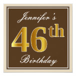 [ Thumbnail: Elegant, Brown, Faux Gold 46th Birthday + Name Invitation ]