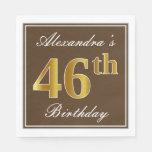 [ Thumbnail: Elegant Brown, Faux Gold 46th Birthday + Name Napkin ]