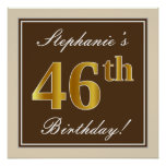 [ Thumbnail: Elegant, Brown, Faux Gold 46th Birthday + Name Poster ]