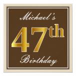 [ Thumbnail: Elegant, Brown, Faux Gold 47th Birthday + Name Invitation ]