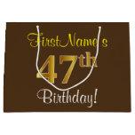 [ Thumbnail: Elegant, Brown, Faux Gold 47th Birthday + Name Gift Bag ]