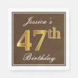 [ Thumbnail: Elegant Brown, Faux Gold 47th Birthday + Name Napkin ]