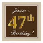 [ Thumbnail: Elegant, Brown, Faux Gold 47th Birthday + Name Poster ]