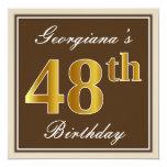 [ Thumbnail: Elegant, Brown, Faux Gold 48th Birthday + Name Invitation ]