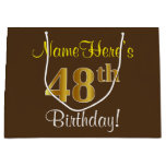 [ Thumbnail: Elegant, Brown, Faux Gold 48th Birthday + Name Gift Bag ]