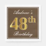 [ Thumbnail: Elegant Brown, Faux Gold 48th Birthday + Name Napkin ]