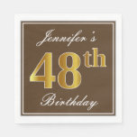 [ Thumbnail: Elegant Brown, Faux Gold 48th Birthday + Name Napkin ]