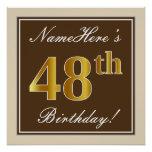 [ Thumbnail: Elegant, Brown, Faux Gold 48th Birthday + Name Poster ]