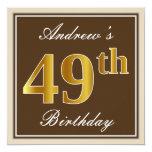 [ Thumbnail: Elegant, Brown, Faux Gold 49th Birthday + Name Invitation ]