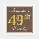 [ Thumbnail: Elegant Brown, Faux Gold 49th Birthday + Name Napkin ]
