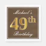 [ Thumbnail: Elegant Brown, Faux Gold 49th Birthday + Name Napkin ]