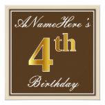 [ Thumbnail: Elegant, Brown, Faux Gold 4th Birthday + Name Invitation ]