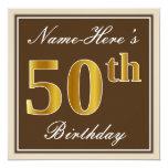 [ Thumbnail: Elegant, Brown, Faux Gold 50th Birthday + Name Invitation ]