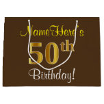 [ Thumbnail: Elegant, Brown, Faux Gold 50th Birthday + Name Gift Bag ]