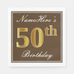 [ Thumbnail: Elegant Brown, Faux Gold 50th Birthday + Name Napkin ]