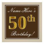 [ Thumbnail: Elegant, Brown, Faux Gold 50th Birthday + Name Poster ]
