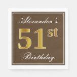 [ Thumbnail: Elegant Brown, Faux Gold 51st Birthday + Name Napkin ]