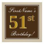 [ Thumbnail: Elegant, Brown, Faux Gold 51st Birthday + Name Poster ]
