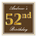 [ Thumbnail: Elegant, Brown, Faux Gold 52nd Birthday + Name Invitation ]