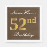 [ Thumbnail: Elegant Brown, Faux Gold 52nd Birthday + Name Napkin ]