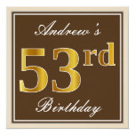 [ Thumbnail: Elegant, Brown, Faux Gold 53rd Birthday + Name Invitation ]