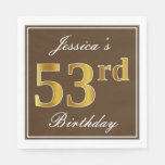 [ Thumbnail: Elegant Brown, Faux Gold 53rd Birthday + Name Napkin ]