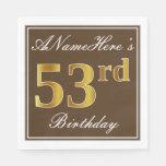 [ Thumbnail: Elegant Brown, Faux Gold 53rd Birthday + Name Napkin ]