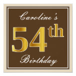[ Thumbnail: Elegant, Brown, Faux Gold 54th Birthday + Name Invitation ]