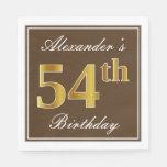[ Thumbnail: Elegant Brown, Faux Gold 54th Birthday + Name Napkin ]