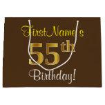 [ Thumbnail: Elegant, Brown, Faux Gold 55th Birthday + Name Gift Bag ]