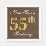 [ Thumbnail: Elegant Brown, Faux Gold 55th Birthday + Name Paper Napkin ]