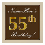[ Thumbnail: Elegant, Brown, Faux Gold 55th Birthday + Name Poster ]