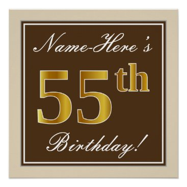 Art Themed Elegant, Brown, Faux Gold 55th Birthday   Name Poster