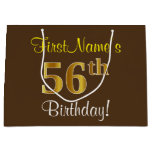 [ Thumbnail: Elegant, Brown, Faux Gold 56th Birthday + Name Gift Bag ]