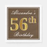 [ Thumbnail: Elegant Brown, Faux Gold 56th Birthday + Name Napkin ]