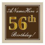[ Thumbnail: Elegant, Brown, Faux Gold 56th Birthday + Name Poster ]