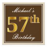 [ Thumbnail: Elegant, Brown, Faux Gold 57th Birthday + Name Invitation ]