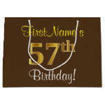 [ Thumbnail: Elegant, Brown, Faux Gold 57th Birthday + Name Gift Bag ]