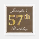 [ Thumbnail: Elegant Brown, Faux Gold 57th Birthday + Name Napkin ]