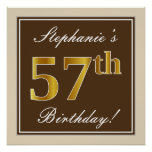 [ Thumbnail: Elegant, Brown, Faux Gold 57th Birthday + Name Poster ]
