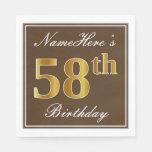 [ Thumbnail: Elegant Brown, Faux Gold 58th Birthday + Name Napkin ]
