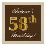 [ Thumbnail: Elegant, Brown, Faux Gold 58th Birthday + Name Poster ]
