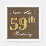 [ Thumbnail: Elegant Brown, Faux Gold 59th Birthday + Name Napkin ]