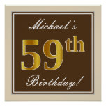 [ Thumbnail: Elegant, Brown, Faux Gold 59th Birthday + Name Poster ]