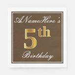 [ Thumbnail: Elegant Brown, Faux Gold 5th Birthday; Custom Name Paper Napkin ]